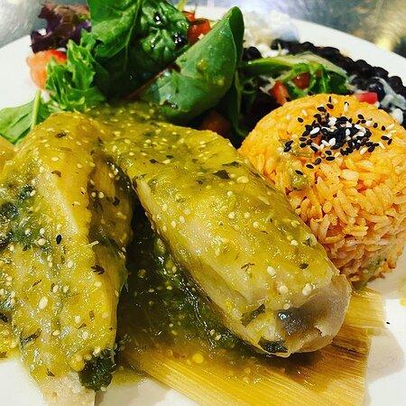 Tamales Verdes: Vegetarian tamales + black beans + rice + roasted salsa verde + mixed greens salad