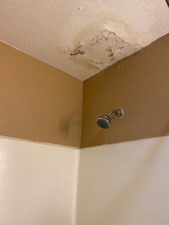 Another photo of the patchwork in the ceiling; very poorly done and still leaks.