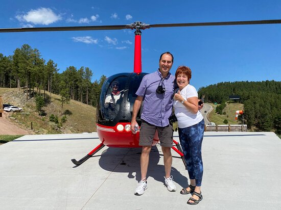 The Black Hills, South Dakota: Just landed from a helicopter view of Mount Rushmore! 