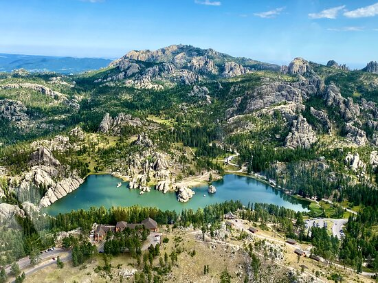 The Black Hills, South Dakota: Beautiful Sylvan Lake in the Black Hills - from a helicopter!  (Just as pretty from the ground!) 