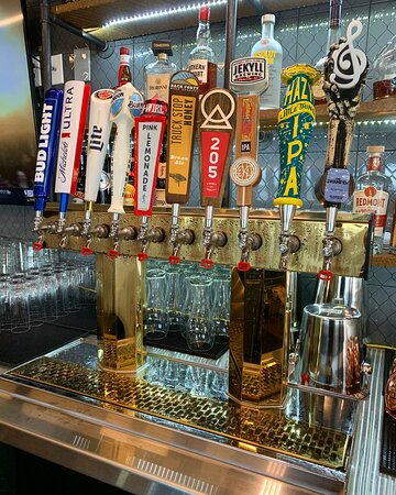 Draft beer with multiple local brews.
