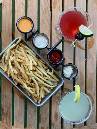 TRUFFLE PARMESAN FRIES: SERVED WITH A SAMPLING OF DIPPING SAUCES