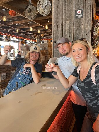 Austin was our bartender. He was awesome and made our moonshine tasting experience so much fun!