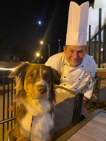 """Here is the chef with """"Newt"""" who got his own special meal!"""