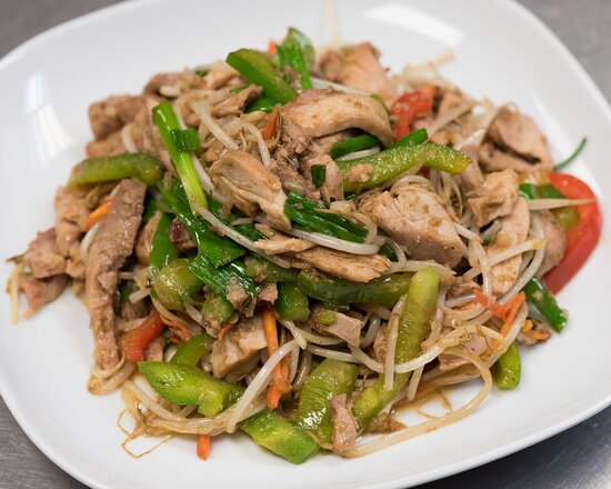 Bourbon Chicken with Bean Sprouts - bean sprouts, peppers, scallion, stir-fried in a BBQ sauce