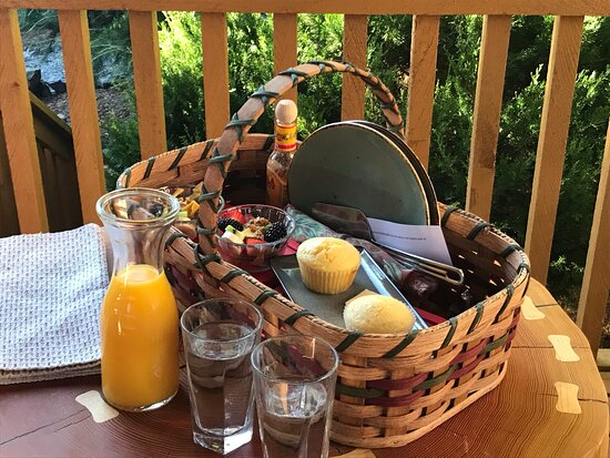 A perfect way to start the day - a picnic basket delivered to your cabin