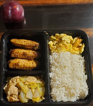 Chicken wings, vegetables, egg, rice, pluot