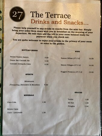 Minibar Fridge Pricelist (we just used the fridge for our own drinks)