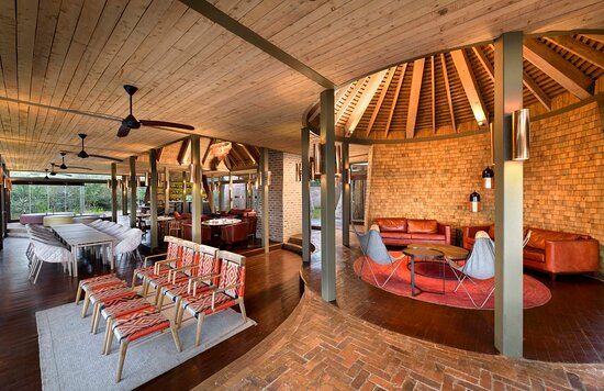 Many different levels and wrap around glass doors in the Guest Area at Angama Mara
