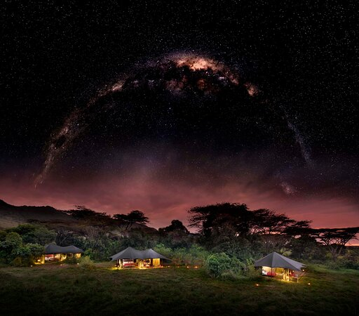 Angama Safari Camp at night