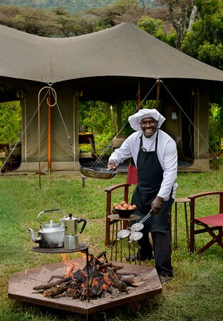 Breakfast cooked over the coals at Angama Safari Camp