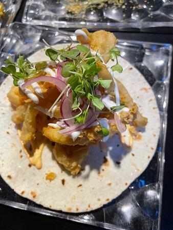 San Sebastian Evening Pintxo Tour with Wine: Tacotalo (fried octopus taco) from Mendaur