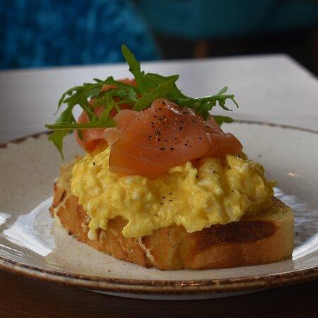 Scrambled eggs, salmon, toasted sourdough