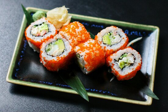 California crab meat inside out roll