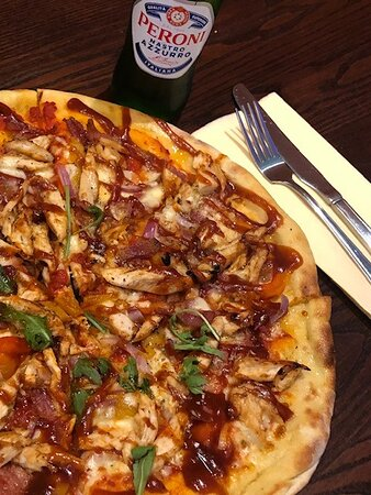 BBQ Chicken pizza, full of flavour!