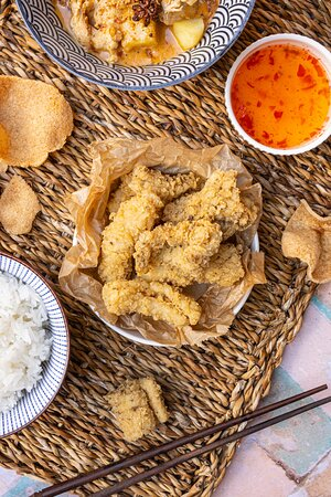 Black Pepper Squid served with a ginger soy sauce