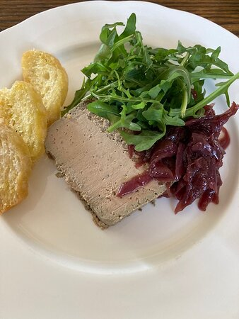 Chicken Liver Parfait, Red Onion Marmalade, Dressed Rocket, Salted Croutes