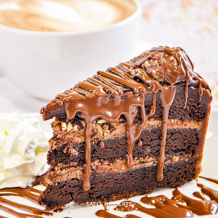 Chocolate fudge cake topped with Nutella