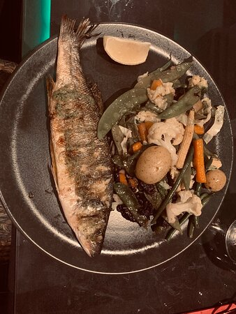 Sea Bass on Charcoal  served with mixed vegetables and potatoes
