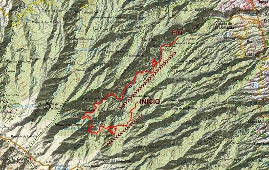 Mapa del recorrido total hasta los Tilos