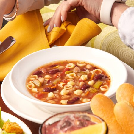 Homemade Minestrone (a vegan classic) soup served with Garden Fresh Salad and our famous breadsticks.