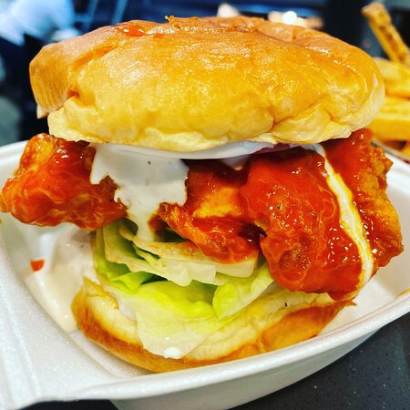 Buffalo sandwich to go.