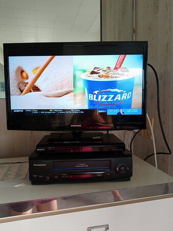Small tv with dvd player and VHS player, yes VHS another tale tale sign of the age