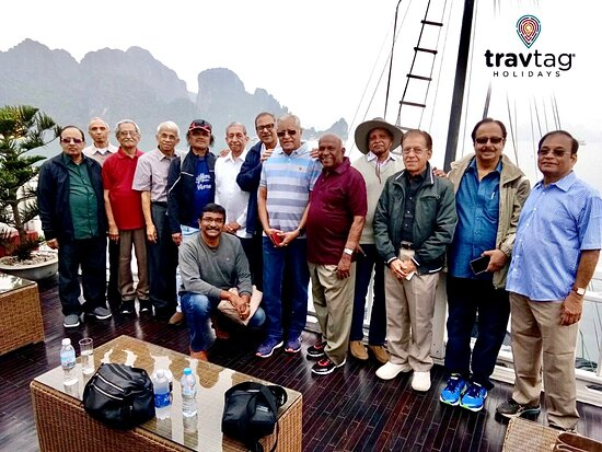 With friends on the boat in Halong Bay after hearty breakfast