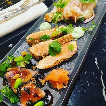 Trio de poissons en ceviche et en tataki