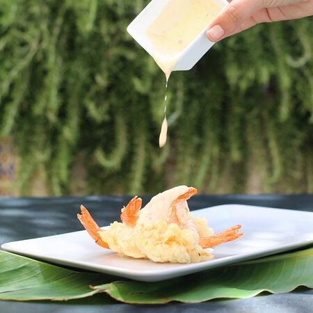 Must try! Tiger prawns tempura with sweet chilli and garlic mayo