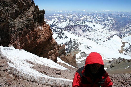 Last steps to the summit of Aconcagua