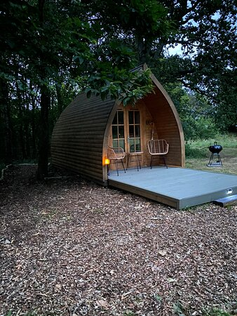 The Burrow two berth pod. Set slightly back from the other two pods, has a luxury sleigh bed and 'Emma' mattress. It faces our meadow and pond.