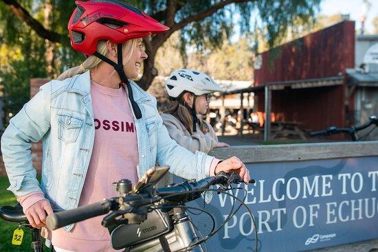 Enjoying riding an e-mountain bike in the Port of Echuca