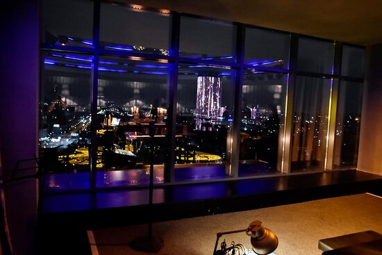 Bar interior with view of the city