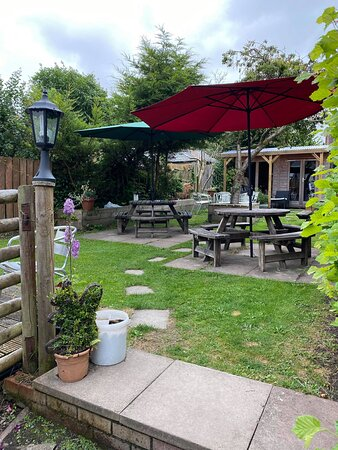 South facing beer garden sheltered from the wind