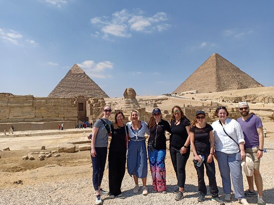 Amazing people at the Pyramids of Giza