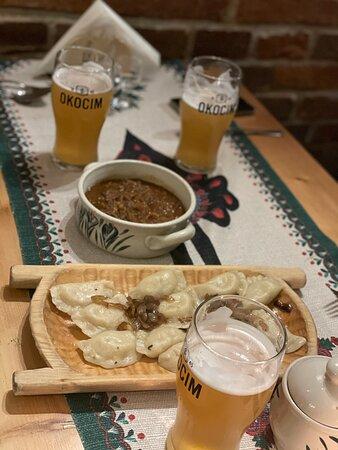 Pierogi, local beer and bigos