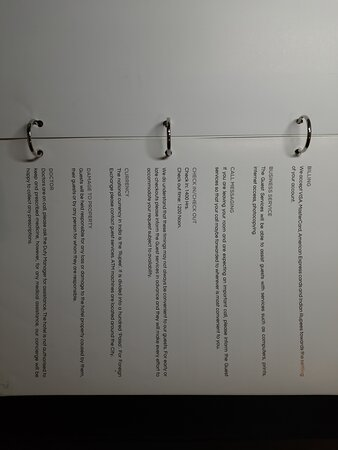 About the hotel and in room menu