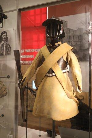 Uniforms on display.
