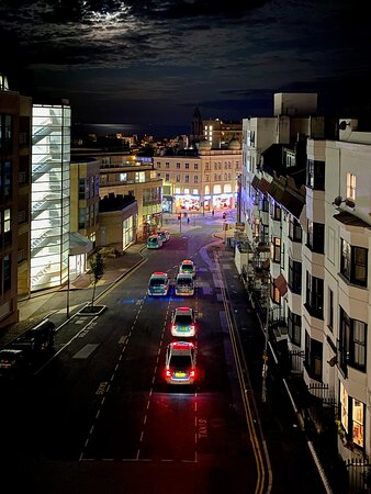 Nighttime view of Queens Square and the taxi rank from the fourth floor