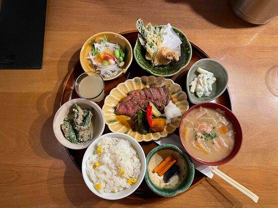 スタミナ定食【牛ステーキの和風ソース】