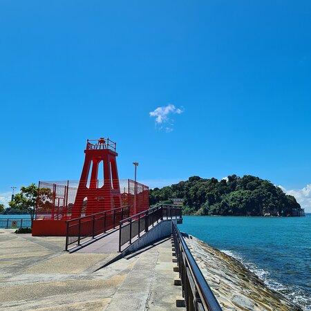 The red beacon facing sentosa island