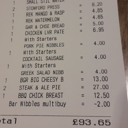 Good Meal Bill for 4
