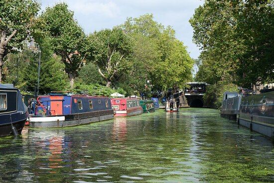 Picturesque scene on the boat along the canal
