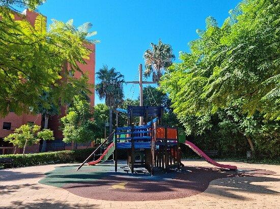 Fountains, greenery, playground