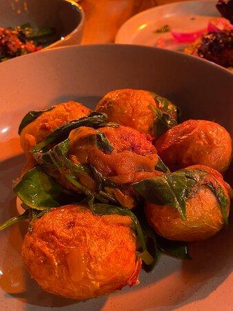 Potato, curry leaf, turmeric, spinach.
