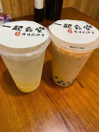 蘆薈桂花雪梨茶 & 珍珠奶茶