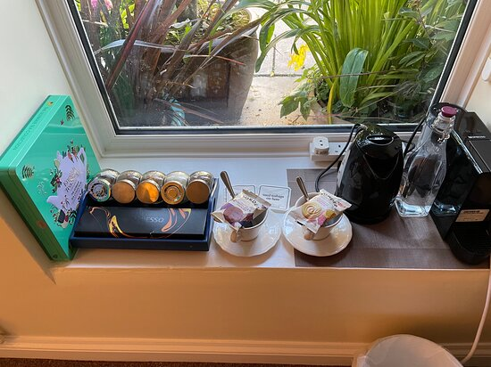 Amenities in the room included coffee, tea, water and biscuits!