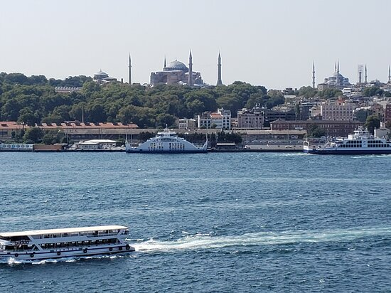 View looking into the city of Istanbul from the roof deck.