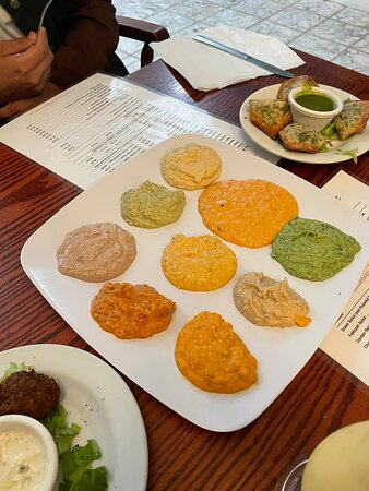 Hummus sampler and 3 kebab plate
